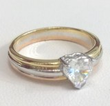 Herz-Diamantring aus 750 Tricolor-Gold: 0.60ct. G/SI