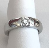 0.50ct. massiver Solitärring, Weissgold: F/SI