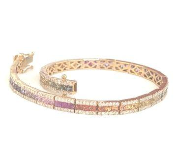 Rainbow-Armband aus Rotgold: 324 Diamanten und 5.32ct. Saphire_product_product_product_product_product_product_product