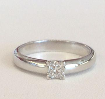 Princess Cut Diamant-Ring aus 750 Weissgold: 0.21ct. G/VS1